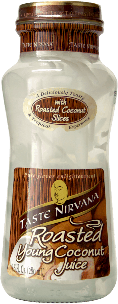 Front Picture of Roasted Coconut Juice Glass Bottle