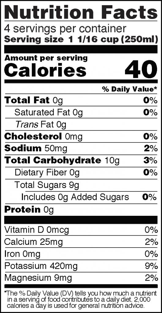 Nutrition Facts of Real Coconut Water Huge 33 fl oz Bottle