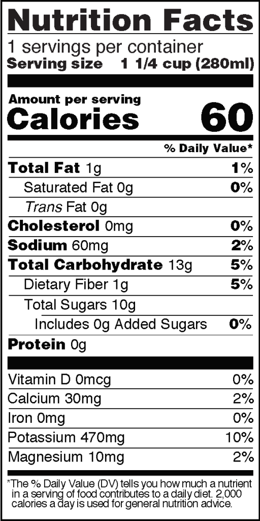 Nutrition Facts of Real Coconut Water with Pulp