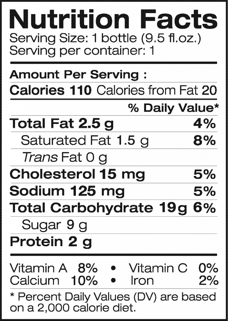 Nutrition Facts of Real Thai Coffee Latte