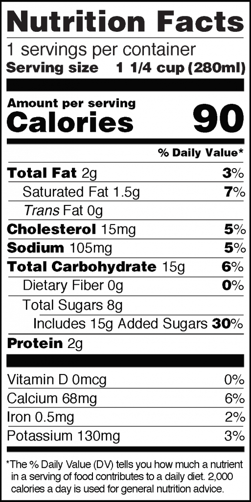 Nutrition Facts of Real Thai Tea Latte