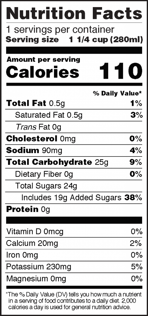 Nutrition Facts of Roasted Coconut Juice Glass Bottle