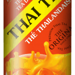 Front label of Taste Nirvana Thai Tea 16 oz can