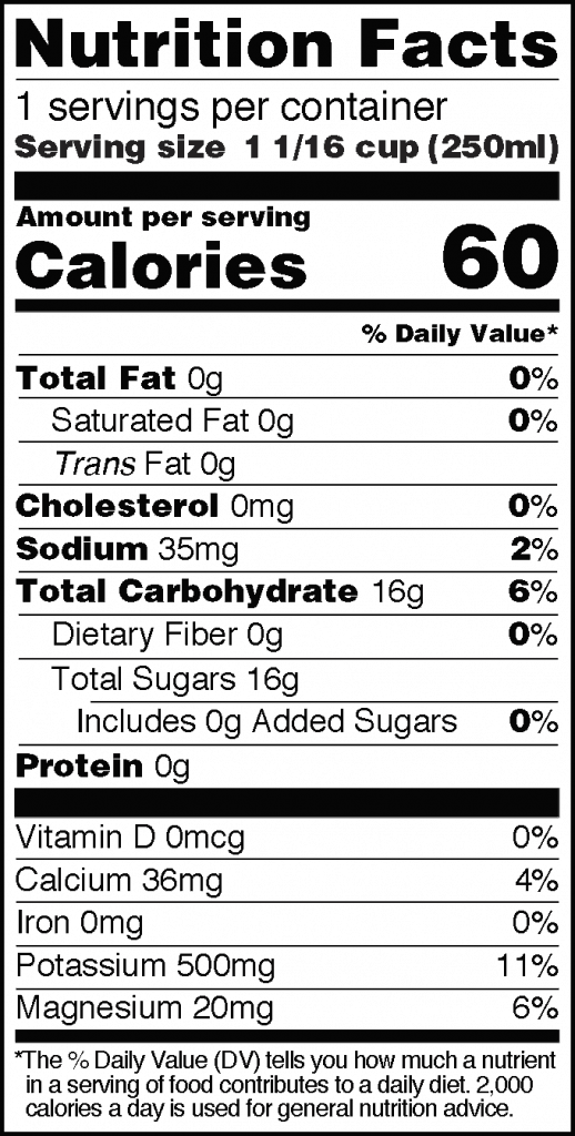 Nutrition Facts of HPP Real Coconut Water