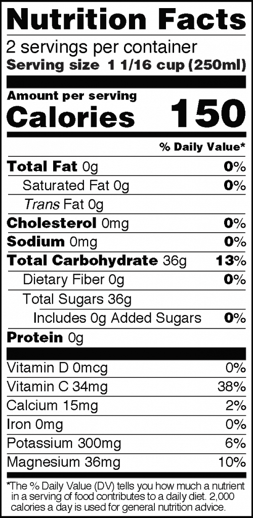 Nutrition Facts of HPP Pineapple Juice