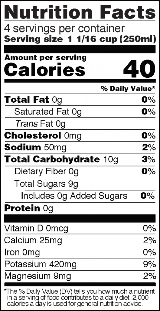 Nutrition Facts of Real Coconut Water Huge 33 fl oz Bottle