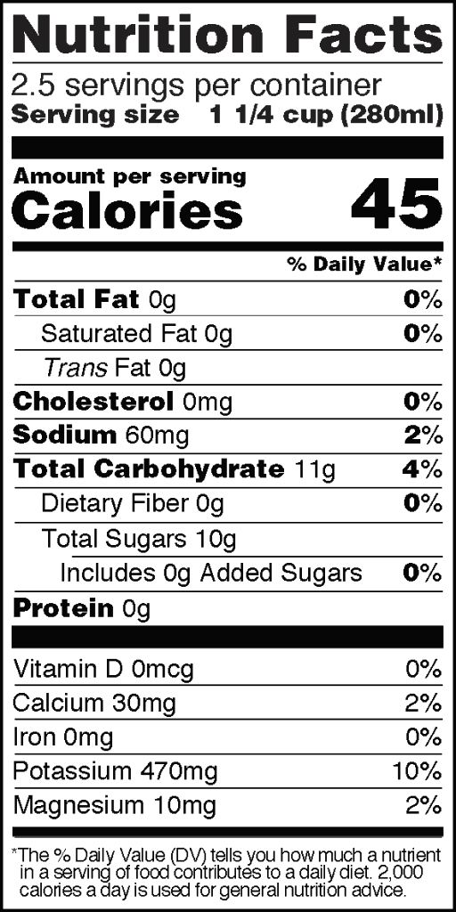 Nutrition Facts of Real Coconut Water Big 23 fl oz Bottle