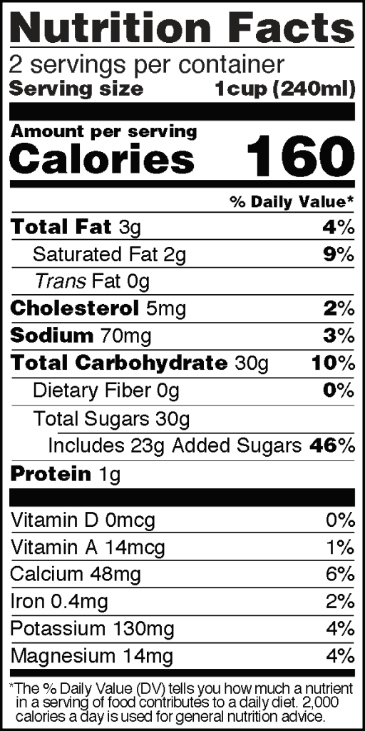 Nutrition Facts of Taste Nirvana Thai Tea 16 oz can