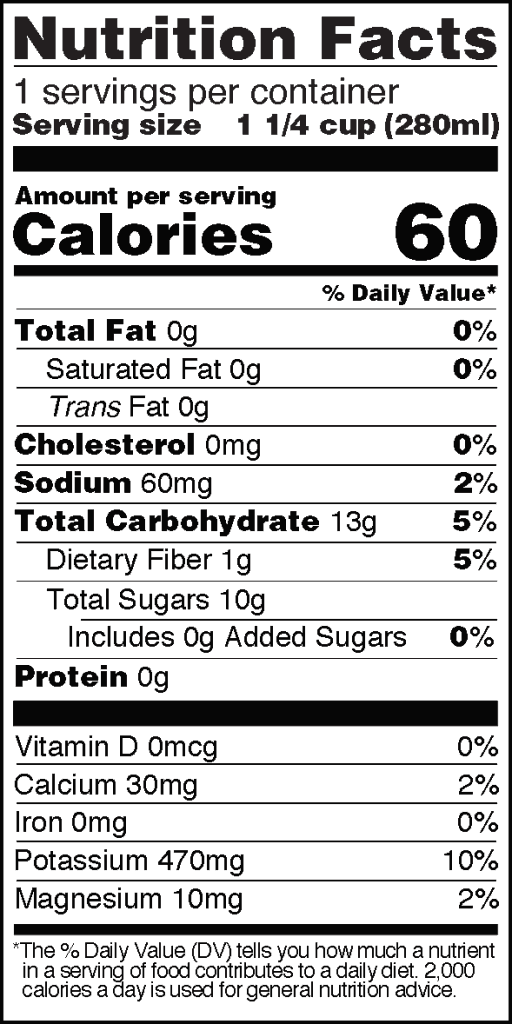 Nutrition Facts of Real Coco Aloe 9.5 fl oz bottle